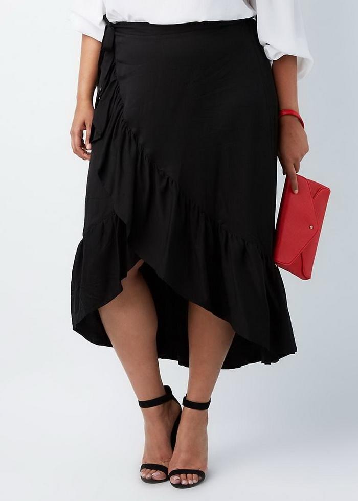 Черная юбка с оборками
