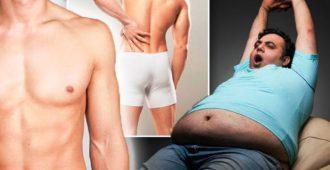 мужчина потягивается толстый живот