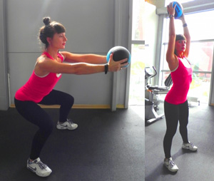 приседание с медболом упражнение тренировка