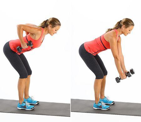как накачать мышцы спины гантелями