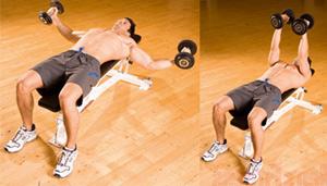 Упражнение с гантелями от валиков на спине